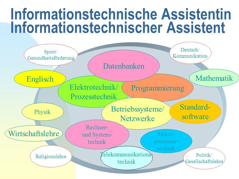 Informationstechnische Assistentin Informationstechnischer Assistent Englisch Mathematik Wirtschaftslehre Elektrotechnik/ Prozesstechnik Programmierun