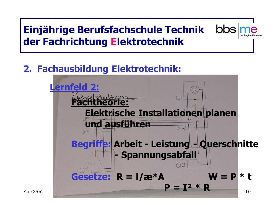 Sue 8/0610 Einjährige Berufsfachschule Technik der Fachrichtung Elektrotechnik 2.Fachausbildung Elektrotechnik: Fachtheorie: Elektrische Installatione
