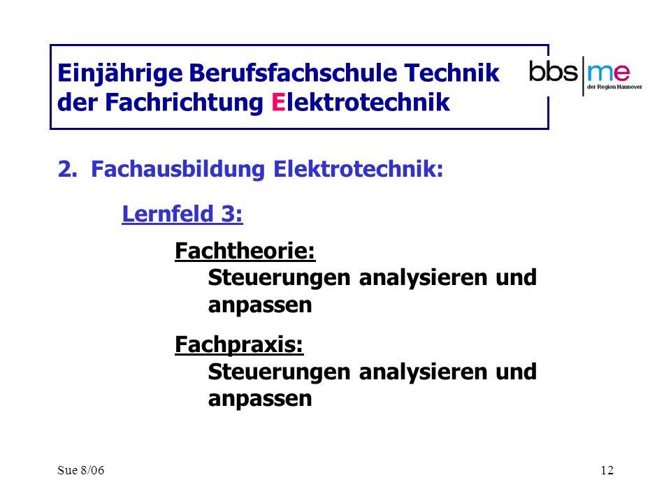 Sue 8/0612 Einjährige Berufsfachschule Technik der Fachrichtung Elektrotechnik 2.Fachausbildung Elektrotechnik: Fachtheorie: Steuerungen analysieren u