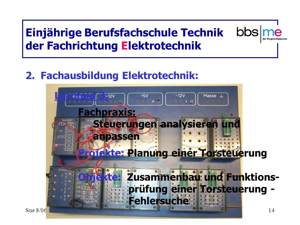 Sue 8/0614 Einjährige Berufsfachschule Technik der Fachrichtung Elektrotechnik 2.Fachausbildung Elektrotechnik: Fachpraxis: Steuerungen analysieren un