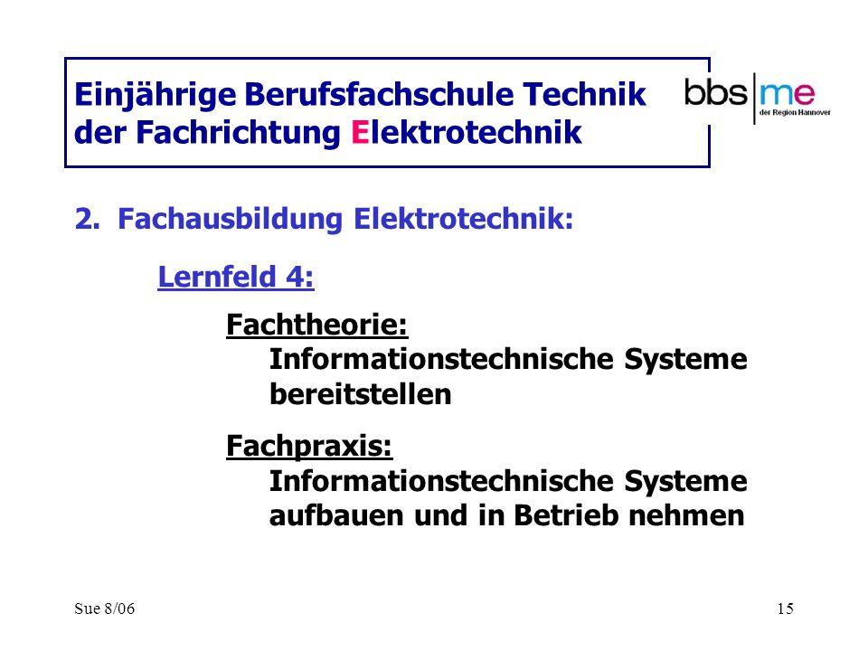Sue 8/0615 Einjährige Berufsfachschule Technik der Fachrichtung Elektrotechnik 2.Fachausbildung Elektrotechnik: Fachtheorie: Informationstechnische Sy