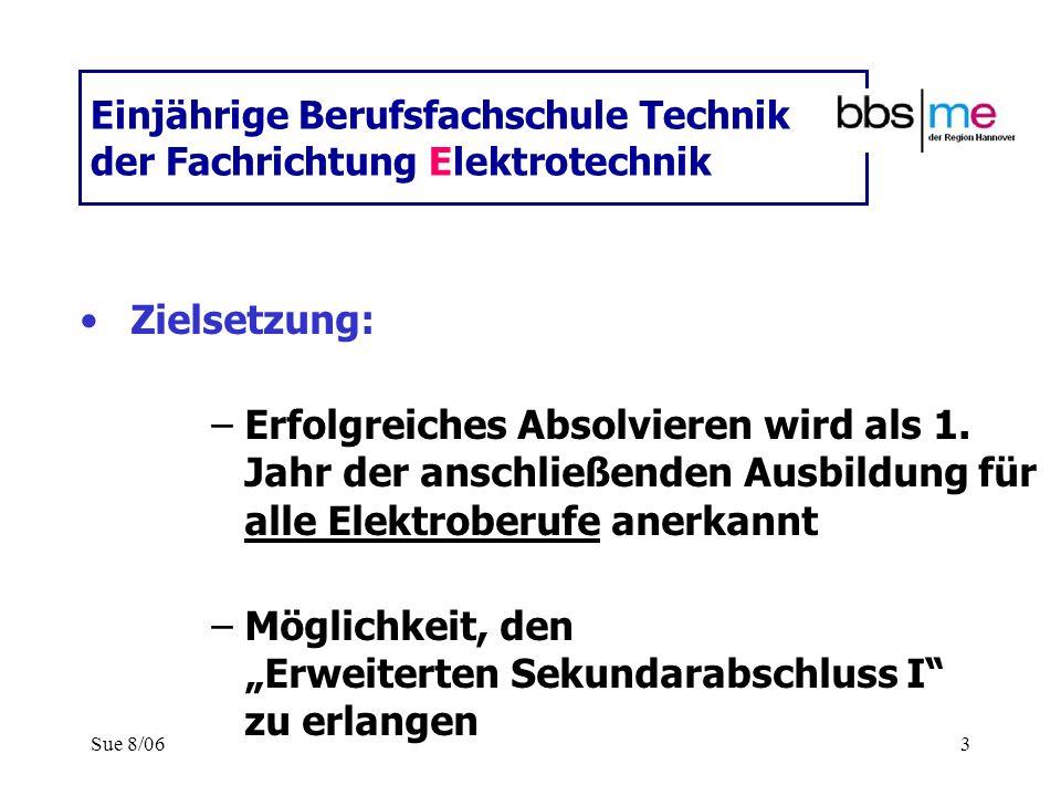 Sue 8/063 Einjährige Berufsfachschule Technik der Fachrichtung Elektrotechnik Zielsetzung: –Erfolgreiches Absolvieren wird als 1. Jahr der anschließen