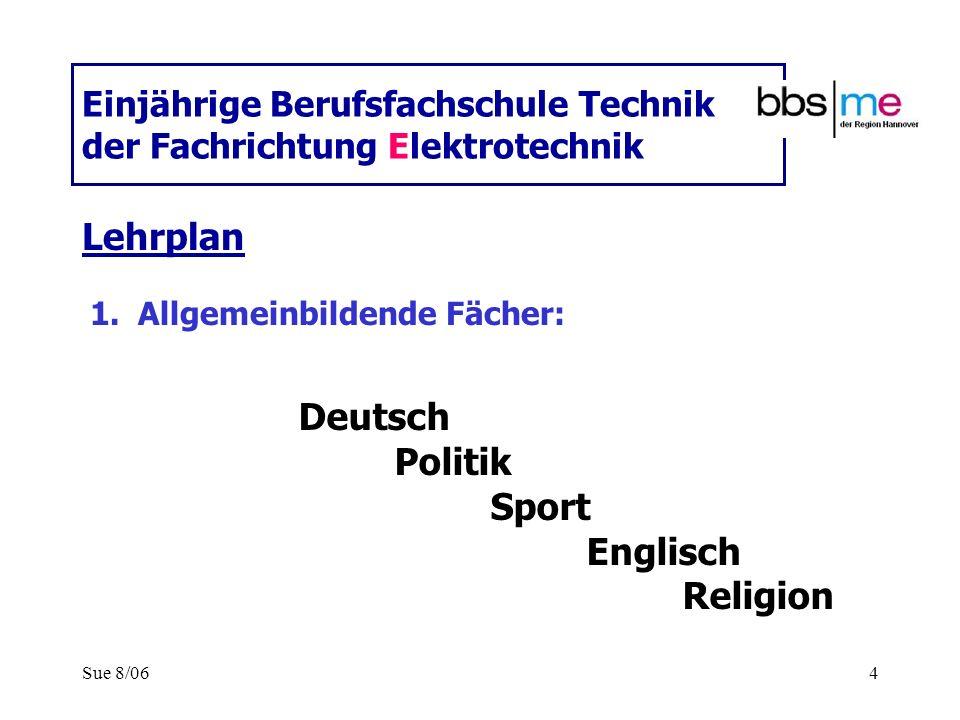 Sue 8/064 Einjährige Berufsfachschule Technik der Fachrichtung Elektrotechnik Lehrplan 1.Allgemeinbildende Fächer: Deutsch Politik Sport Englisch Reli