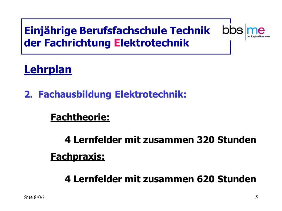 Sue 8/065 Einjährige Berufsfachschule Technik der Fachrichtung Elektrotechnik Lehrplan 2.Fachausbildung Elektrotechnik: Fachtheorie: 4 Lernfelder mit