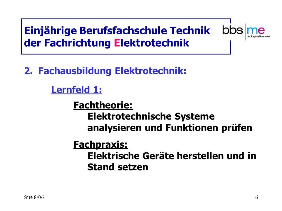 Sue 8/066 Einjährige Berufsfachschule Technik der Fachrichtung Elektrotechnik 2.Fachausbildung Elektrotechnik: Fachtheorie: Elektrotechnische Systeme