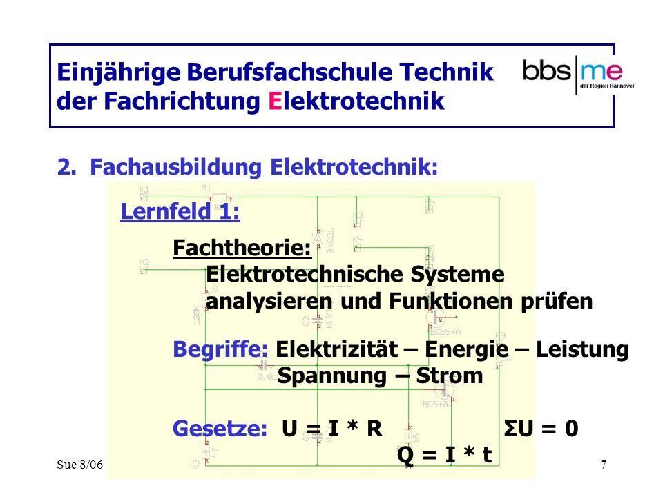 Sue 8/067 Einjährige Berufsfachschule Technik der Fachrichtung Elektrotechnik 2.Fachausbildung Elektrotechnik: Fachtheorie: Elektrotechnische Systeme