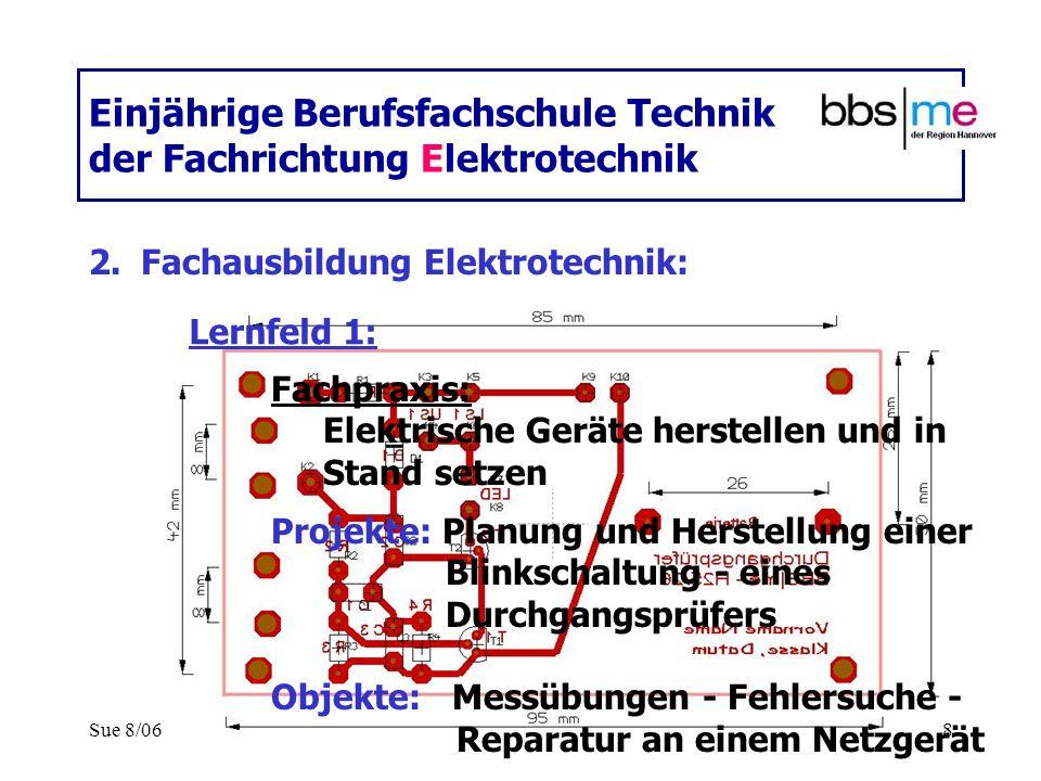 Sue 8/068 Einjährige Berufsfachschule Technik der Fachrichtung Elektrotechnik 2.Fachausbildung Elektrotechnik: Fachpraxis: Elektrische Geräte herstell