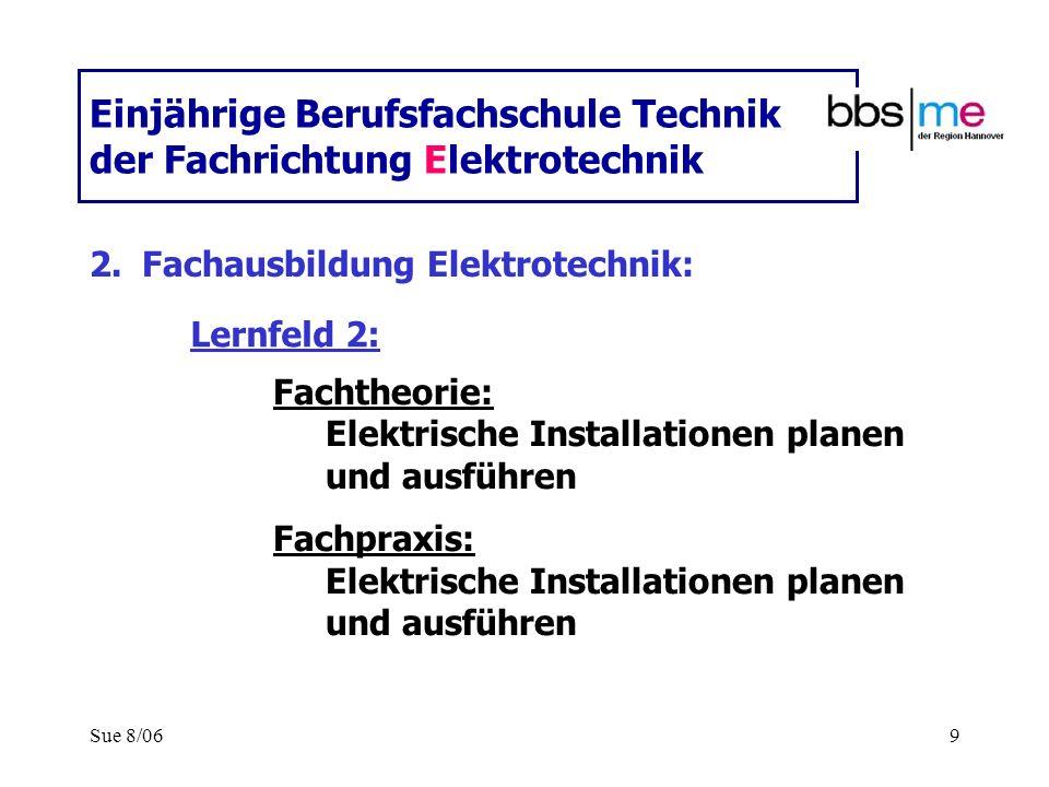 Sue 8/069 Einjährige Berufsfachschule Technik der Fachrichtung Elektrotechnik 2.Fachausbildung Elektrotechnik: Fachtheorie: Elektrische Installationen