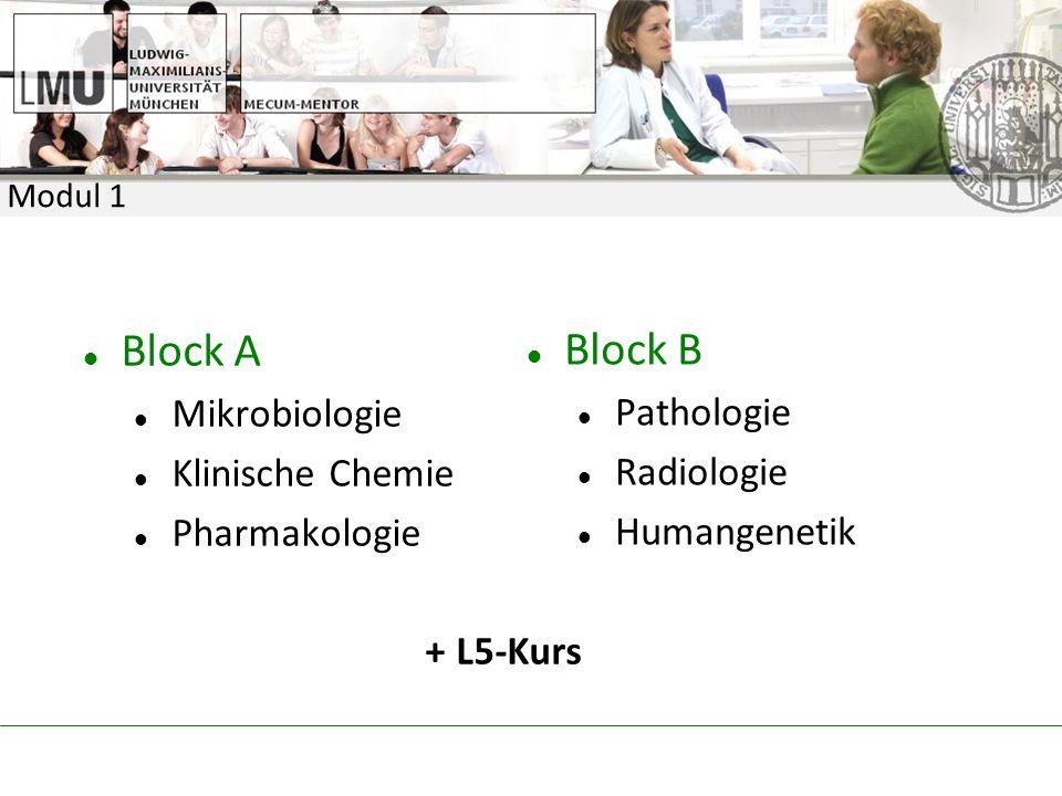 Block A Mikrobiologie Klinische Chemie Pharmakologie + L5-Kurs Block B Pathologie Radiologie Humangenetik