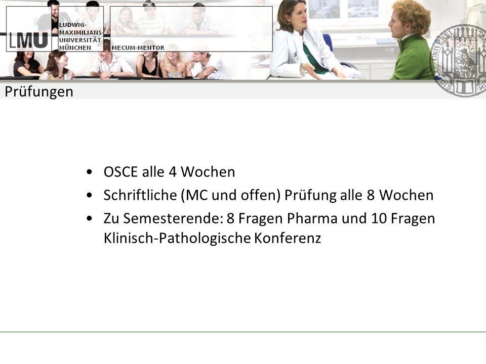 OSCE alle 4 Wochen Schriftliche (MC und offen) Prüfung alle 8 Wochen Zu Semesterende: 8 Fragen Pharma und 10 Fragen Klinisch-Pathologische Konferenz Prüfungen