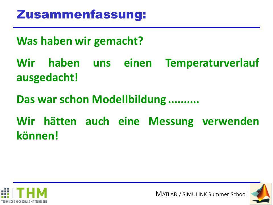 M ATLAB / SIMULINK Summer School Modellbildung Was ist ein MODEL(L).