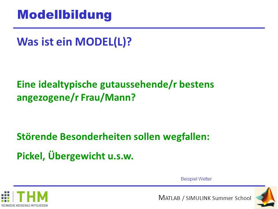 M ATLAB / SIMULINK Summer School Modellbildung Was ist ein MODELL.