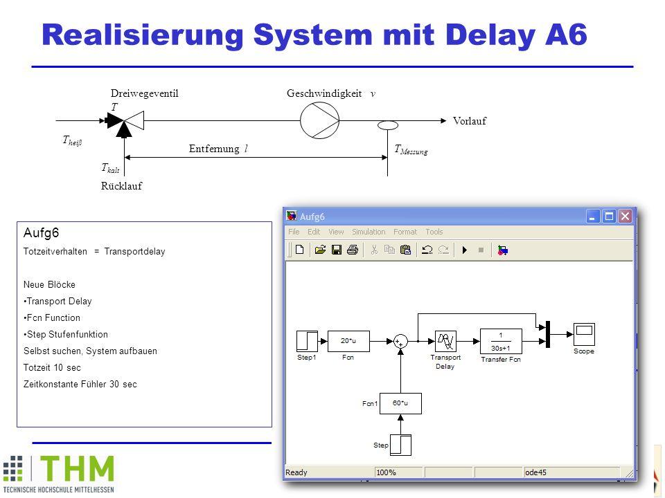 M ATLAB / SIMULINK Summer School Realisierung System mit Delay A6 Dreiwegeventil T Geschwindigkeit v Vorlauf T Messung Entfernung l T kalt Rücklauf T heiß