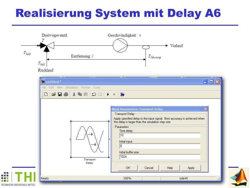 M ATLAB / SIMULINK Summer School Realisierung System mit Delay A6 Dreiwegeventil T Geschwindigkeit v Vorlauf T Messung Entfernung l T kalt Rücklauf T heiß Anwendungsbeispiel: Drehzahlregelbare Pumpe Signal für drehzahlregelbare Pumpe Variable Geschwindigkeit Variables Delay Signal für drehzahlregelbare Pumpe Variable Geschwindigkeit Variables Delay