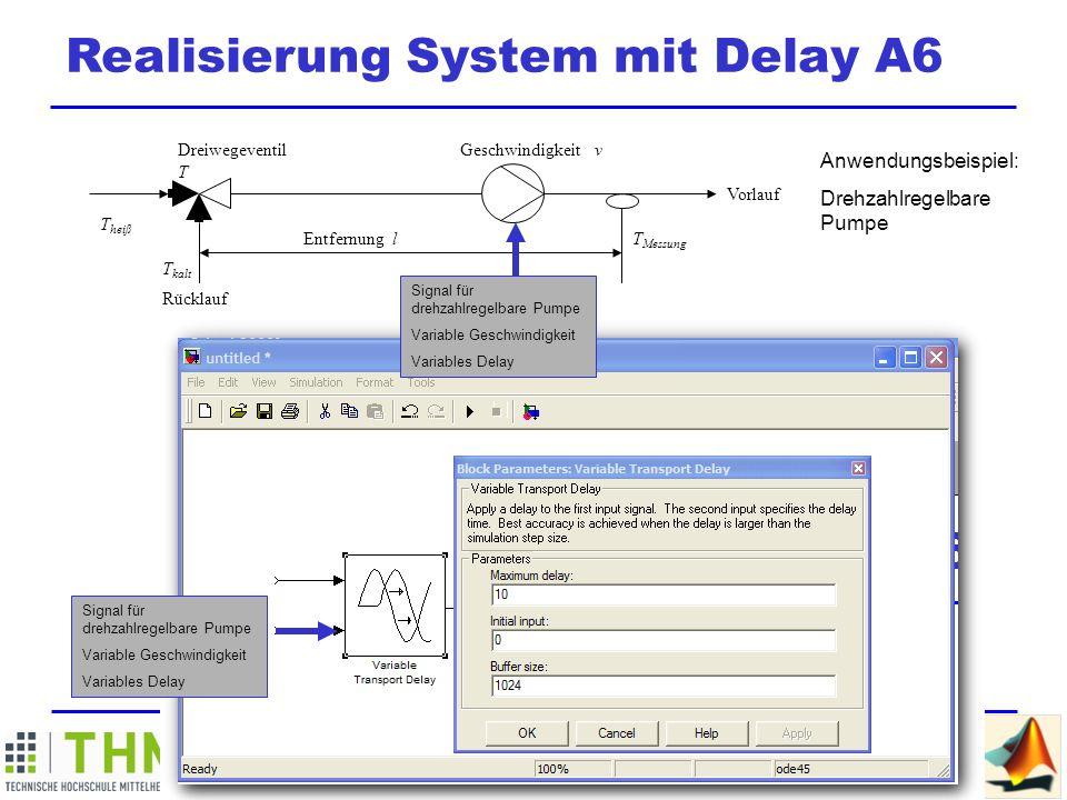 M ATLAB / SIMULINK Summer School Realisierung System mit Delay A6 hier wird die Mischungstemperatur explizit gebildet (Erklärung)