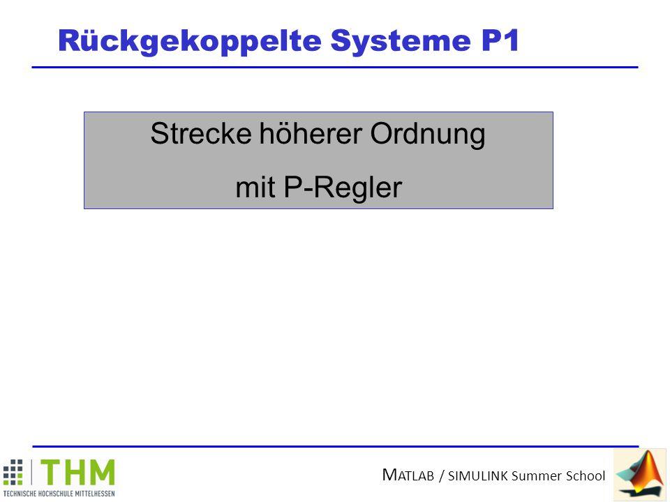 M ATLAB / SIMULINK Summer School Rückgekoppelte Systeme P1 Strecke höherer Ordnung mit P-Regler Reglerverstärkung