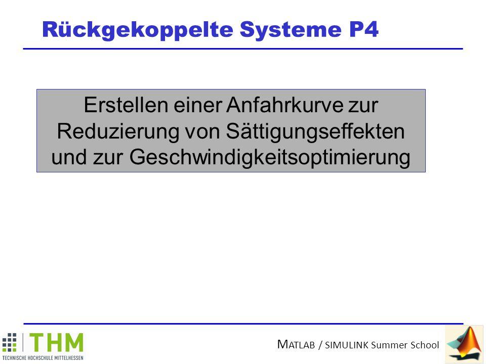 M ATLAB / SIMULINK Summer School Rückgekoppelte Systeme P4 Eile mit Weile