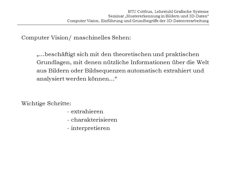 BTU Cottbus, Lehrstuhl Grafische Systeme Seminar Mustererkennung in Bildern und 3D-Daten Computer Vision, Einführung und Grundbegriffe der 3D-Datenverarbeitung 8.