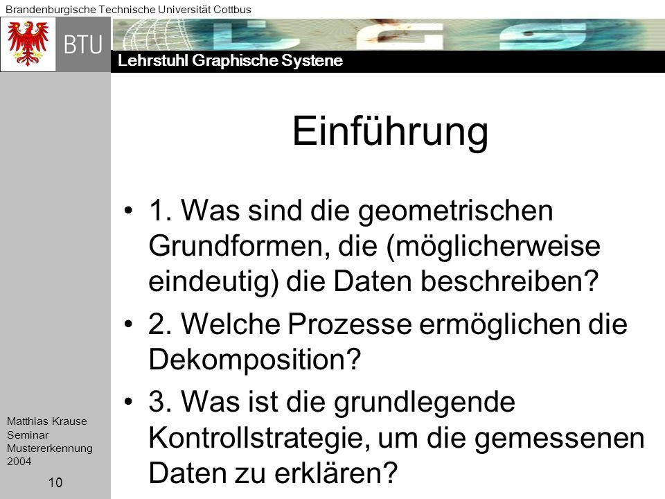 Lehrstuhl Graphische Systene Brandenburgische Technische Universität Cottbus Matthias Krause Seminar Mustererkennung 2004 10 Einführung 1. Was sind di