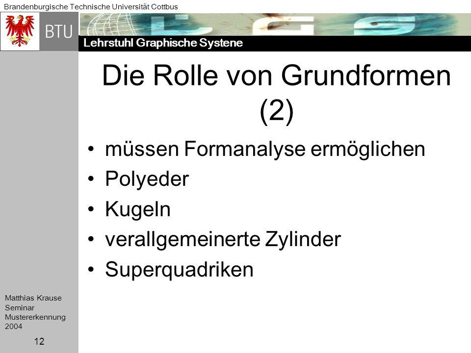 Lehrstuhl Graphische Systene Brandenburgische Technische Universität Cottbus Matthias Krause Seminar Mustererkennung 2004 12 Die Rolle von Grundformen