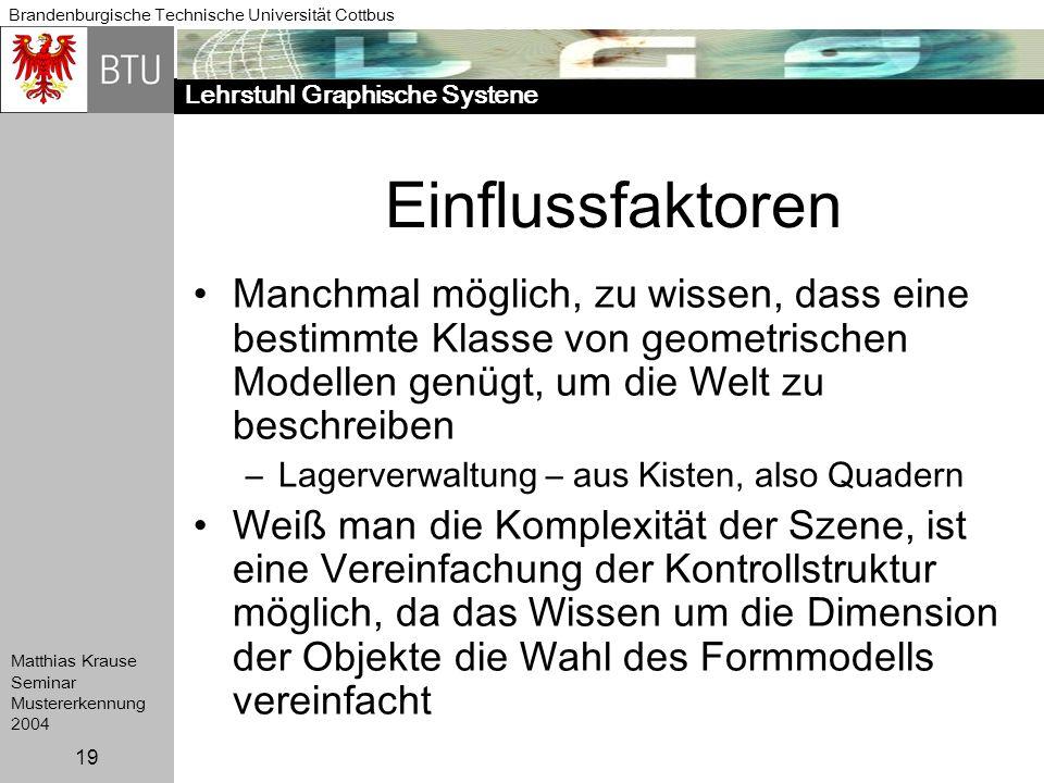 Lehrstuhl Graphische Systene Brandenburgische Technische Universität Cottbus Matthias Krause Seminar Mustererkennung 2004 19 Einflussfaktoren Manchmal