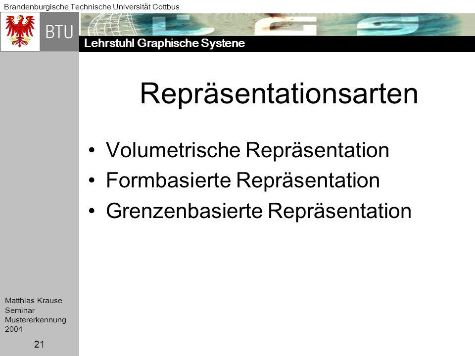 Lehrstuhl Graphische Systene Brandenburgische Technische Universität Cottbus Matthias Krause Seminar Mustererkennung 2004 21 Repräsentationsarten Volu