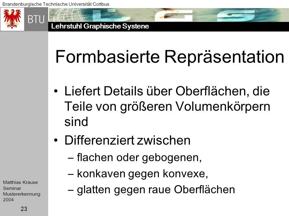 Lehrstuhl Graphische Systene Brandenburgische Technische Universität Cottbus Matthias Krause Seminar Mustererkennung 2004 23 Formbasierte Repräsentati