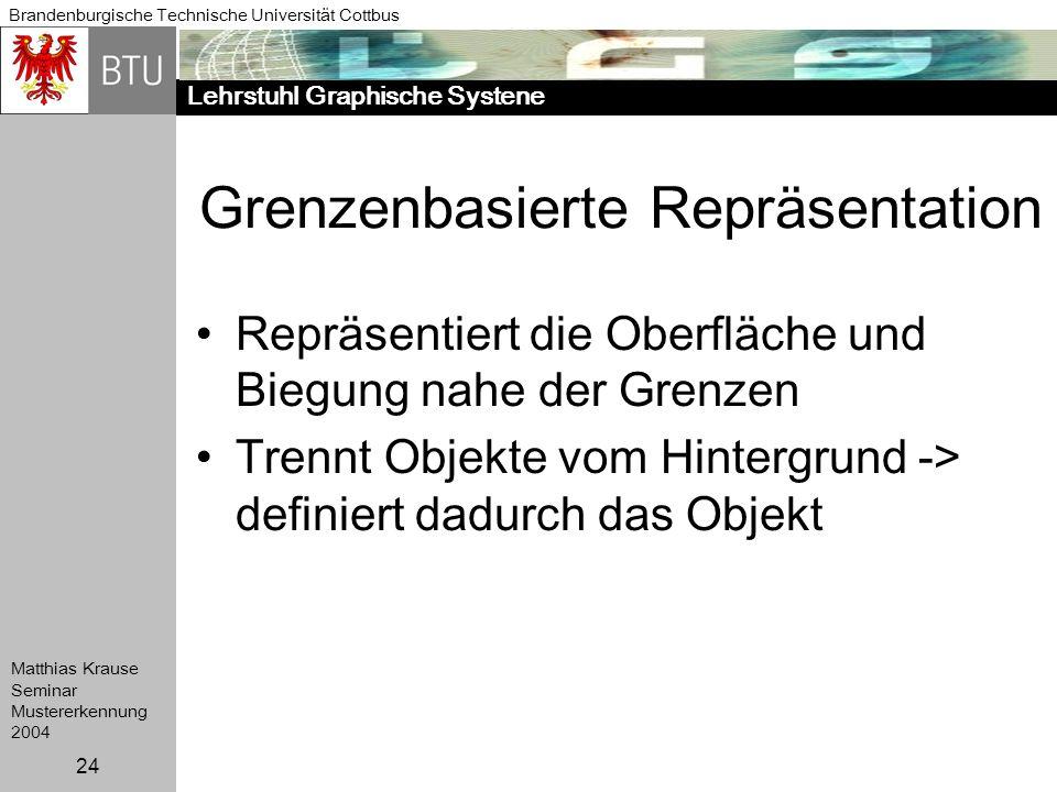 Lehrstuhl Graphische Systene Brandenburgische Technische Universität Cottbus Matthias Krause Seminar Mustererkennung 2004 24 Grenzenbasierte Repräsent