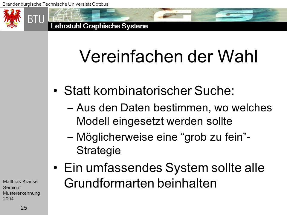 Lehrstuhl Graphische Systene Brandenburgische Technische Universität Cottbus Matthias Krause Seminar Mustererkennung 2004 25 Vereinfachen der Wahl Sta