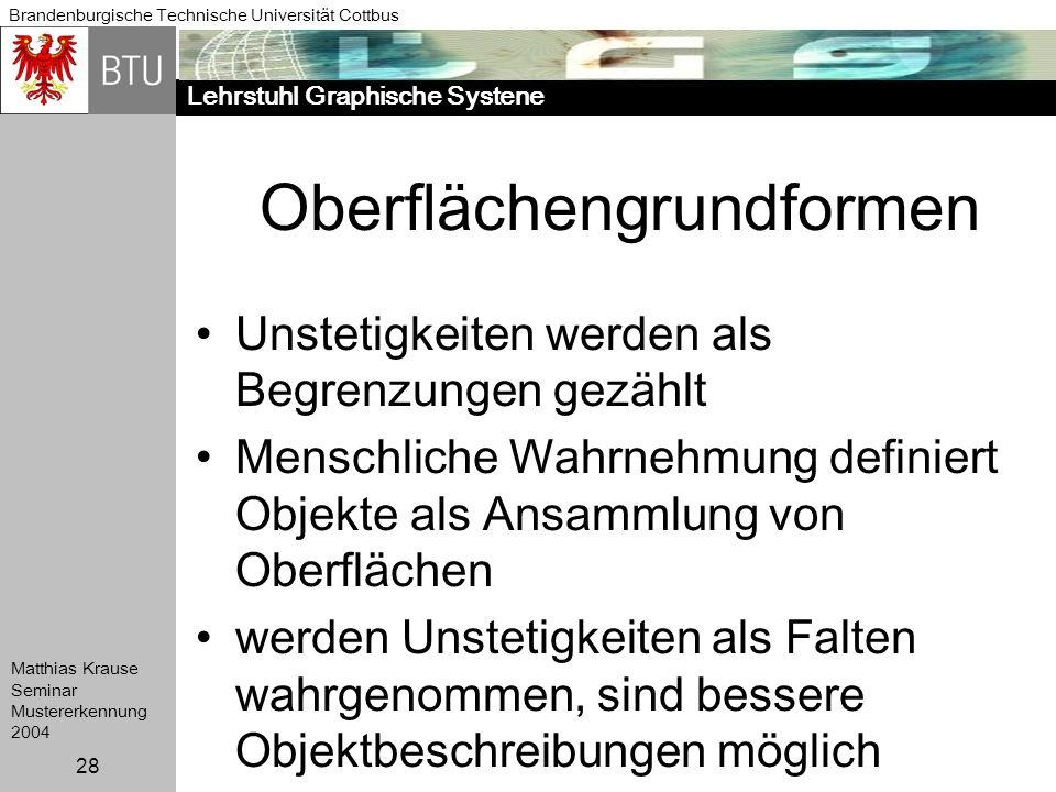 Lehrstuhl Graphische Systene Brandenburgische Technische Universität Cottbus Matthias Krause Seminar Mustererkennung 2004 28 Oberflächengrundformen Un