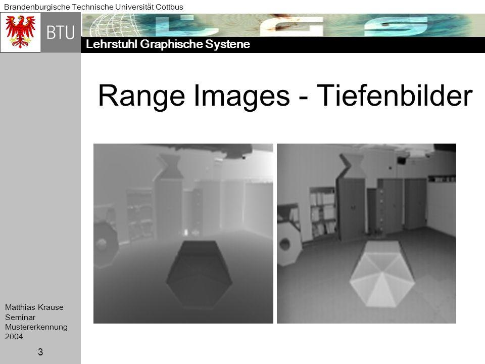 Lehrstuhl Graphische Systene Brandenburgische Technische Universität Cottbus Matthias Krause Seminar Mustererkennung 2004 3 Range Images - Tiefenbilde