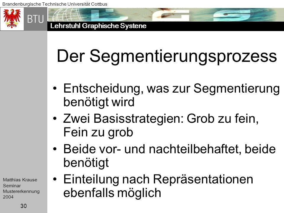 Lehrstuhl Graphische Systene Brandenburgische Technische Universität Cottbus Matthias Krause Seminar Mustererkennung 2004 30 Der Segmentierungsprozess