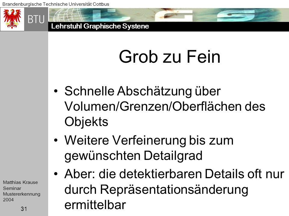 Lehrstuhl Graphische Systene Brandenburgische Technische Universität Cottbus Matthias Krause Seminar Mustererkennung 2004 31 Grob zu Fein Schnelle Abs