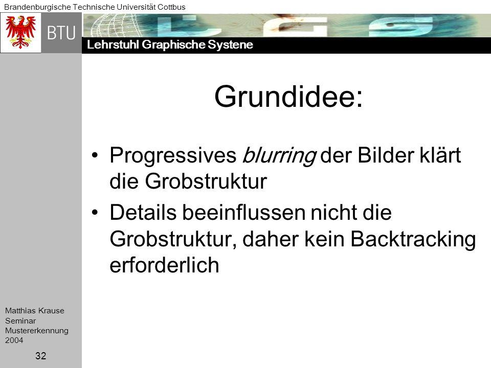 Lehrstuhl Graphische Systene Brandenburgische Technische Universität Cottbus Matthias Krause Seminar Mustererkennung 2004 32 Grundidee: Progressives b