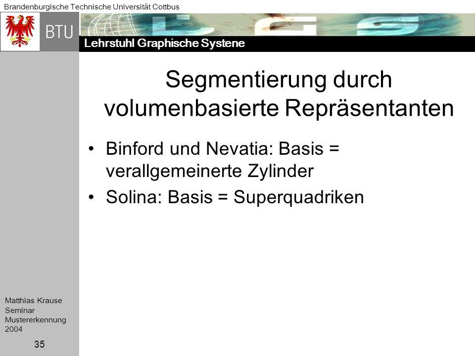 Lehrstuhl Graphische Systene Brandenburgische Technische Universität Cottbus Matthias Krause Seminar Mustererkennung 2004 35 Segmentierung durch volum