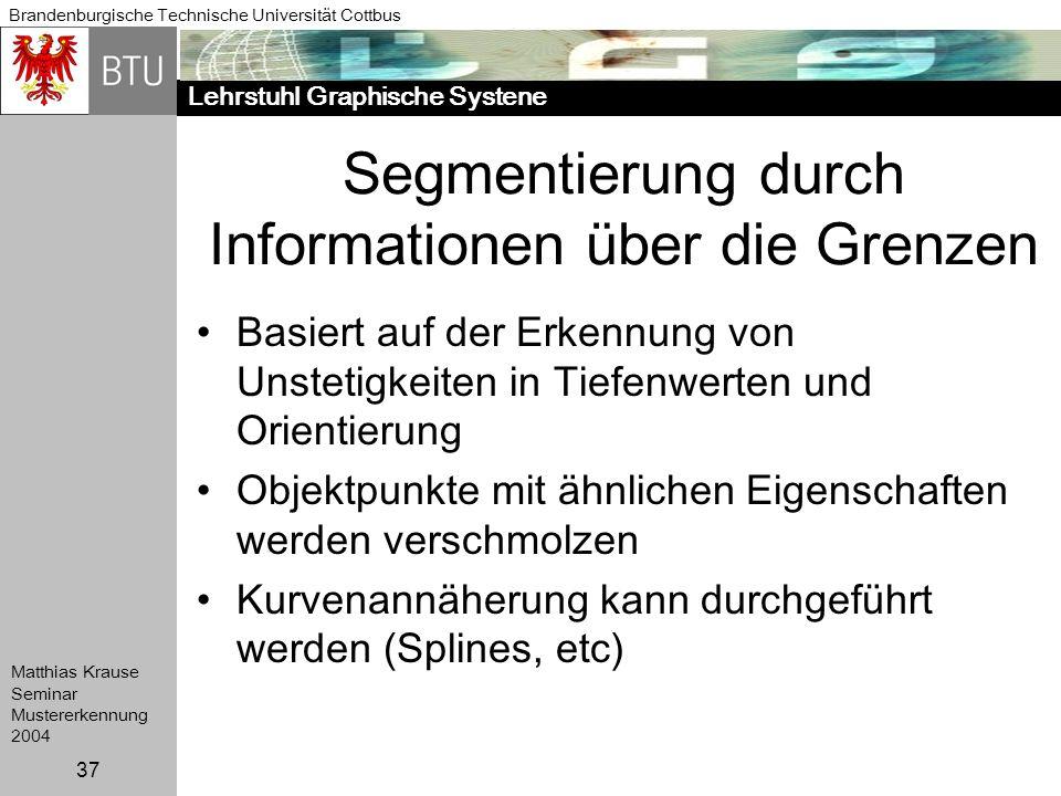 Lehrstuhl Graphische Systene Brandenburgische Technische Universität Cottbus Matthias Krause Seminar Mustererkennung 2004 37 Segmentierung durch Infor