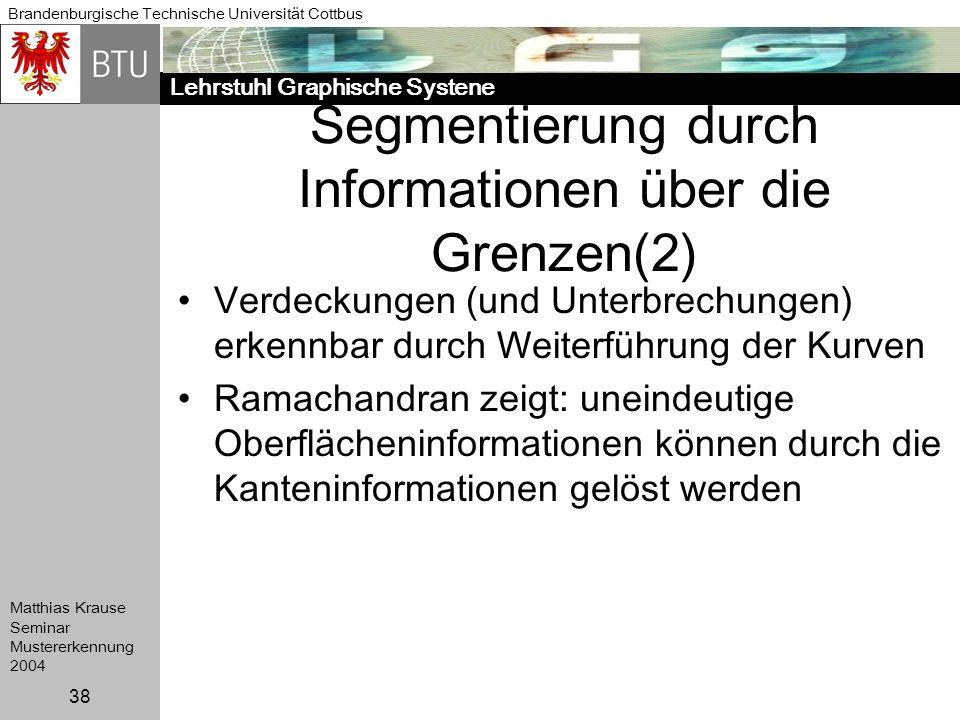 Lehrstuhl Graphische Systene Brandenburgische Technische Universität Cottbus Matthias Krause Seminar Mustererkennung 2004 38 Segmentierung durch Infor