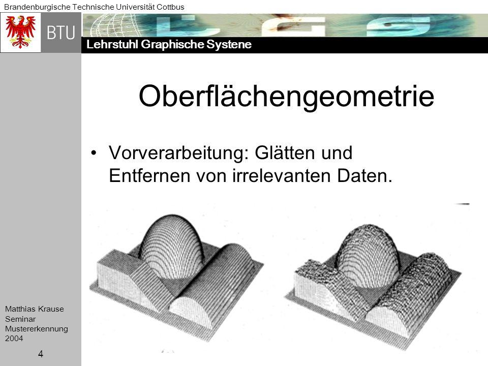 Lehrstuhl Graphische Systene Brandenburgische Technische Universität Cottbus Matthias Krause Seminar Mustererkennung 2004 4 Oberflächengeometrie Vorve