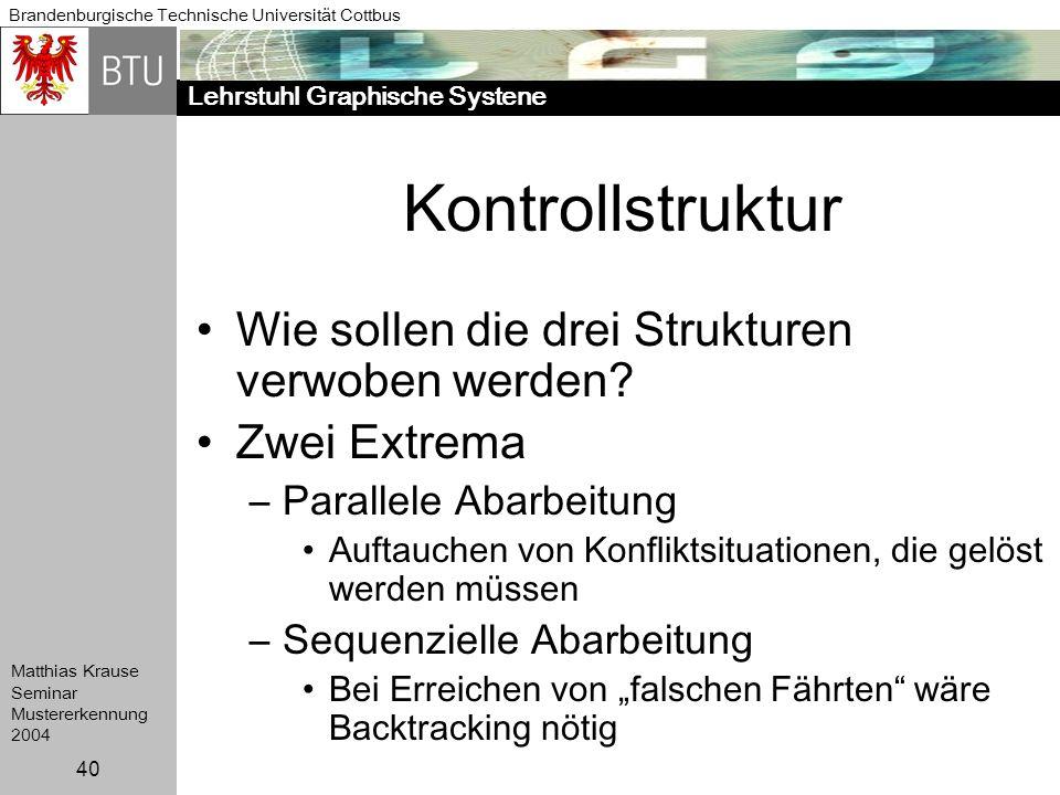 Lehrstuhl Graphische Systene Brandenburgische Technische Universität Cottbus Matthias Krause Seminar Mustererkennung 2004 40 Kontrollstruktur Wie soll