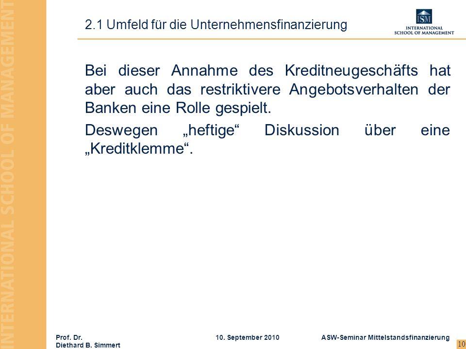 Prof. Dr. Diethard B. Simmert ASW-Seminar Mittelstandsfinanzierung10. September 2010 10 Bei dieser Annahme des Kreditneugeschäfts hat aber auch das re