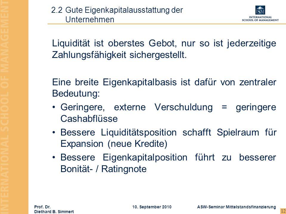 Prof. Dr. Diethard B. Simmert ASW-Seminar Mittelstandsfinanzierung10. September 2010 12 Liquidität ist oberstes Gebot, nur so ist jederzeitige Zahlung