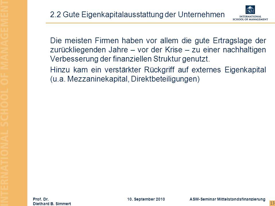 Prof. Dr. Diethard B. Simmert ASW-Seminar Mittelstandsfinanzierung10. September 2010 13 Die meisten Firmen haben vor allem die gute Ertragslage der zu