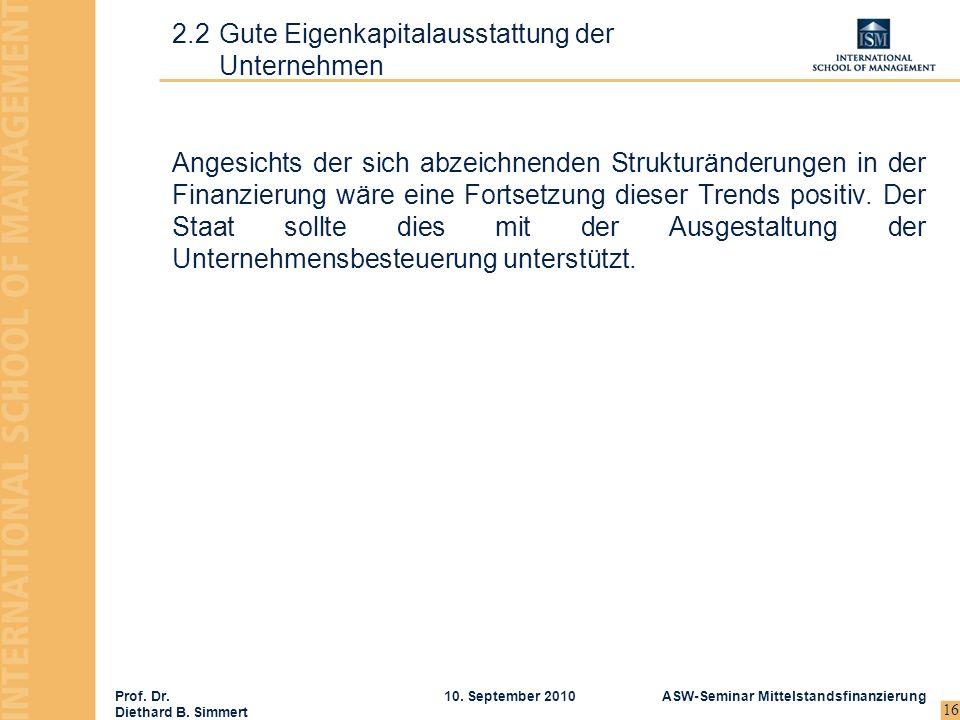 Prof. Dr. Diethard B. Simmert ASW-Seminar Mittelstandsfinanzierung10. September 2010 16 2.2 Gute Eigenkapitalausstattung der Unternehmen Angesichts de