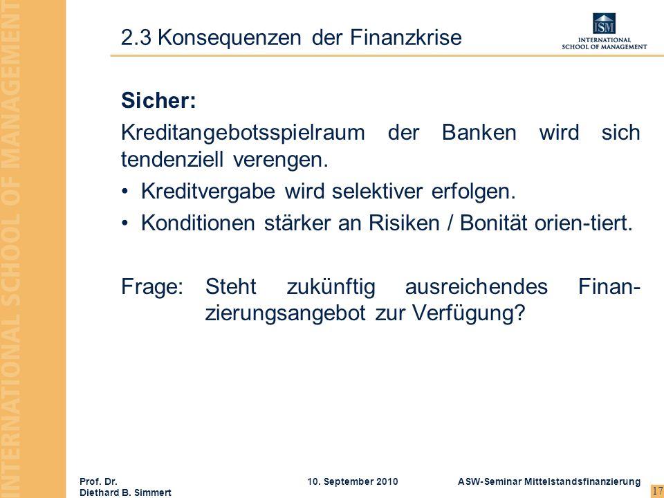 Prof. Dr. Diethard B. Simmert ASW-Seminar Mittelstandsfinanzierung10. September 2010 17 Sicher: Kreditangebotsspielraum der Banken wird sich tendenzie