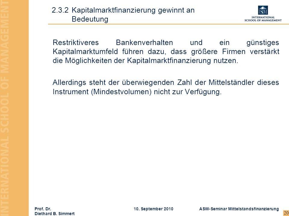 Prof. Dr. Diethard B. Simmert ASW-Seminar Mittelstandsfinanzierung10. September 2010 20 Restriktiveres Bankenverhalten und ein günstiges Kapitalmarktu
