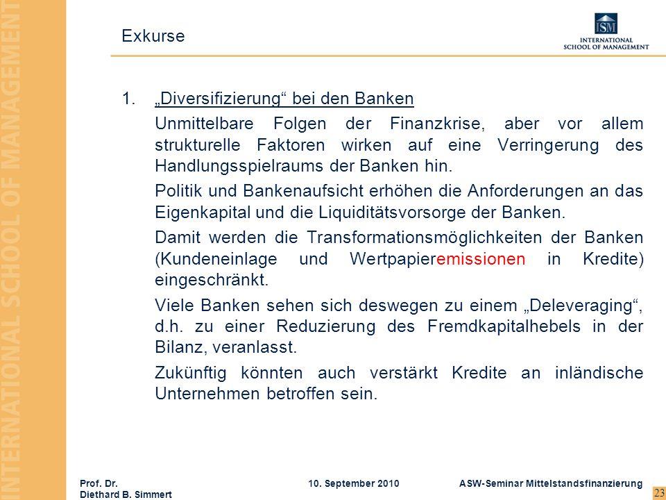 Prof. Dr. Diethard B. Simmert ASW-Seminar Mittelstandsfinanzierung10. September 2010 23 1.Diversifizierung bei den Banken Unmittelbare Folgen der Fina
