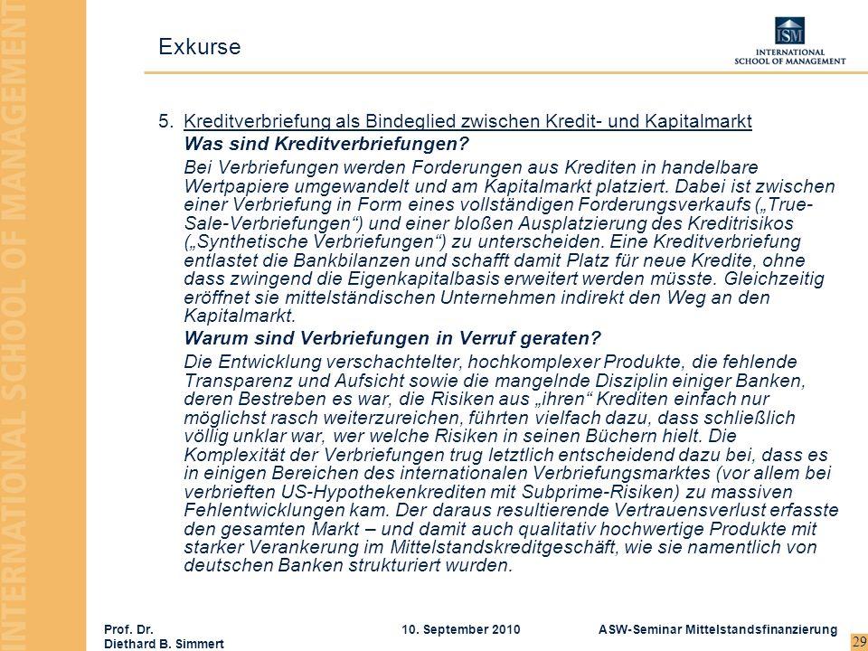 Prof. Dr. Diethard B. Simmert ASW-Seminar Mittelstandsfinanzierung10. September 2010 29 5.Kreditverbriefung als Bindeglied zwischen Kredit- und Kapita