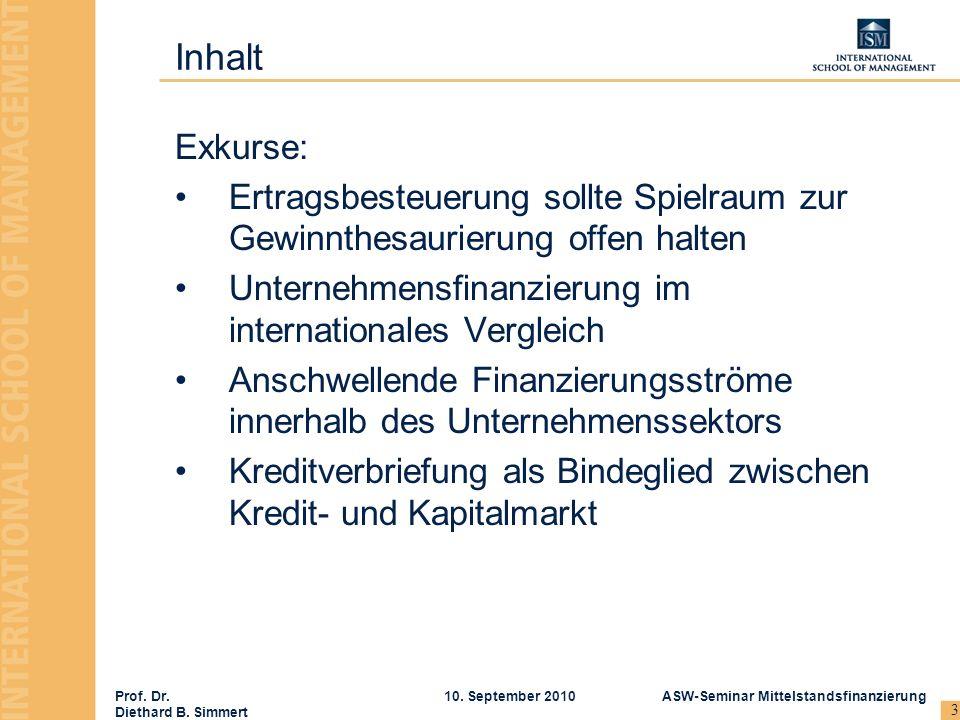Prof. Dr. Diethard B. Simmert ASW-Seminar Mittelstandsfinanzierung10. September 2010 3 Inhalt Exkurse: Ertragsbesteuerung sollte Spielraum zur Gewinnt