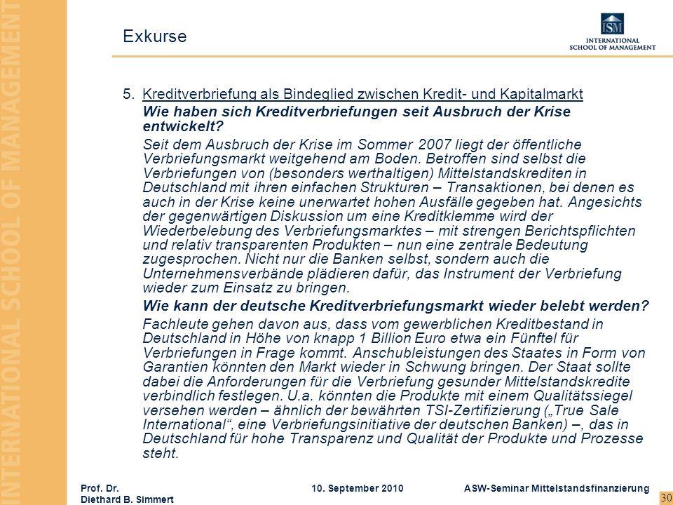 Prof. Dr. Diethard B. Simmert ASW-Seminar Mittelstandsfinanzierung10. September 2010 30 5.Kreditverbriefung als Bindeglied zwischen Kredit- und Kapita