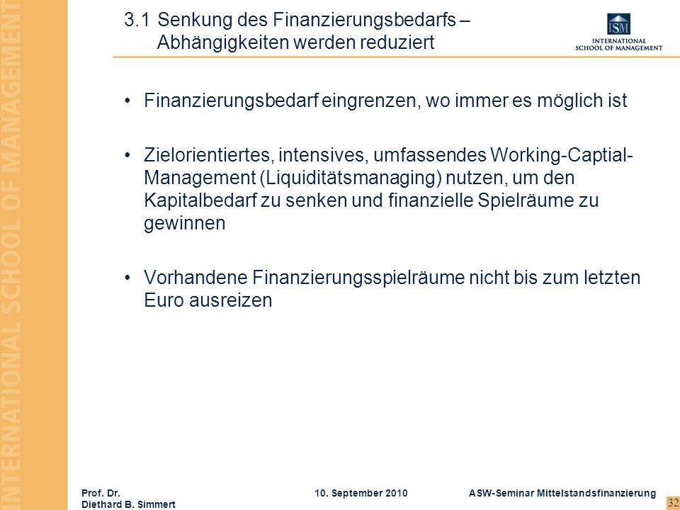Prof. Dr. Diethard B. Simmert ASW-Seminar Mittelstandsfinanzierung10. September 2010 32 Finanzierungsbedarf eingrenzen, wo immer es möglich ist Zielor